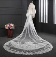 100% Real Imagens Branco Marfim Véu De Noiva 3 M 2 Tiers Blush Lace Applique Véu De Noiva Pente Livre Feito Sob Encomenda