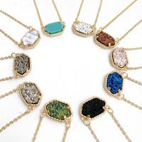 Ciondoli in pietra naturale esagonale collana per donne geometriche collane con ciondoli di pietra druzy moda pendenti 10 colori