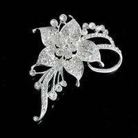 Cancella strass fiore spilla spilla moda argento tono cristallo fiore narciso nuziale corsario partito gioielli spille spille da sposa bouquet