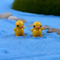 20 pcs Pé amarelo pato fada miniaturas do jardim estatuetas animais acessórios terrário gnome ornamentos decoração da sua casa
