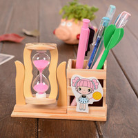 Wooden Pen Container Hourglass Office Stationery Desk Storag...