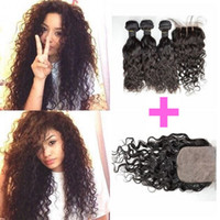 G- EASY Wet And Wavy Silk Base Closure With 3 Bundles Brazili...