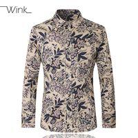 All'ingrosso- uomini camicie casual manica lunga marca di cotone alla moda elegante slim fit maschio abito floreale camicie maschile plus size m-5xl camisa masculina e223