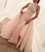 Vestidos de noche formales vestidos de fiesta larga vestidos de baile de fiesta australiatura aljasmi labourjoisie overskirts concesiones de celebridades vestidos árabe rosa encaje
