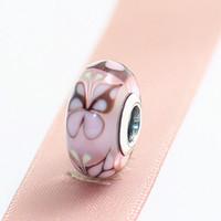5pcs Pink Butterfly Kisses 925 Sterling Silver Filo di vetro di Murano Branelli con Clear CZ Fit Pandora Pandora Braccialetti di fascino europeo
