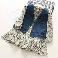 Everweekend Girls Floral Dress with Denim Waistcoat Vest 2pc...