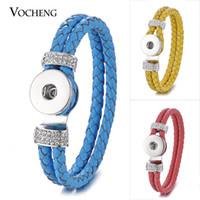 Нуса имбирь Оснастки кожаный браслет двойной плетеный с Кристаллом для 18 мм кнопка ювелирные изделия 17 цветов VOCHENG НН-578
