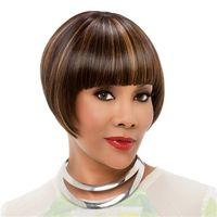 저렴한 숏 밥 가발 스트레이트 브라운 믹스 여성을위한 황금 합성 머리 가발 내열 합성 가발