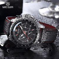 MEGIR montre-bracelet en cuir de marque homme chauds de la montre-bracelet en cuir étanche pour mencasual noir montre sport pour homme 1010 avec luminou
