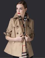 ربيع الخريف أزياء المرأة قصيرة خندق معاطف السيدات سطر مزدوجة الصدر معطف بنات 9/10 كم فضفاض سترة واقية S-XXL