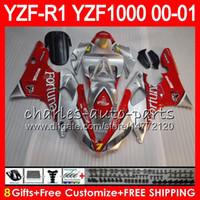 Karosserie Für YAMAHA YZF1000 YZF 1000 YZFR1 00 01 98 99 74NO41 R 1 YZF-R1000 Karosserie YZF-R1 YZF R1 2000 2001 1998 1999 FORTUNA rot Verkleidungssatz