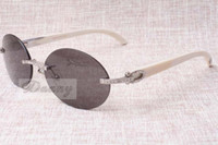 Lunettes de soleil à diamant ronde de luxe de luxe à chaud T8100903-anatural Angle blanc Lunettes de soleil de la meilleure qualité Taille: 58-18-140mm