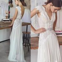 Bohemia largo vestido de gasa con vestido de novia de encaje Sash Beach flujo profundo cuello en V sin respaldo Boho nupcial de los vestidos Vestidos