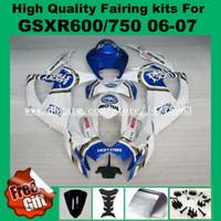 Carenagens para SUZUKI GSXR600 06 07 GSXR750 GSX-R600 GSX-R750 2006 2007 azul branco LUCKY STRIKE GSXR 600 750 06 07 kits de carenagem K6 + 9 compartimentos