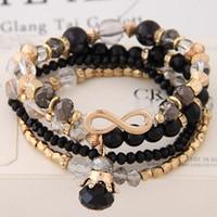Armbänder für Frauen Bijoux Gläser Stein Perlen Armbänder Armreifen Gold Eine Richtung Multilayer Elastic Charm Pulsera