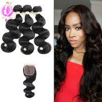 Brazilian Virgin Hair Body Wave 3 Bundles with Free Part Clo...