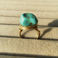 New Vintage Accessories Full Handmade Unique Irregular Turquoise Ring Stone Men And Women LOVE Couple Rings Size 6.25 Bijoux Best Gift 006
