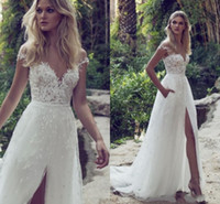 Bohemian Lace Sexy 2019 Spaghetti Backless A- Line Wedding Dr...