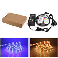 DC12V 5M RGBW Flexible Strip 5050 300LEDs 72W Kit LED Lights Double Color White Warm Adapter IP65 Waterproof Lamp 2.4G Controller Wholesales