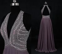 Derin V Boncuklu Uzun Abiye Gri Açık Geri Şifon Örgün Balo Abiye 2021 Parti Elbiseler A-Line Düğünler Konuk Elbiseler Gerçek Fotoğraf