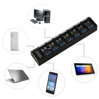 Freeshipping 7 портов USB 3.0 концентратор сплиттер светодиодные адаптер зарядки порт электронный переключатель 5 Гбит Великобритания Plug