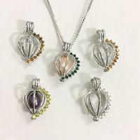 18KGP красочные драгоценные камни в форме сердца медальон клетка, может содержать 7-9 мм Жемчужина шарик подвеска для DIY мода ожерелье браслет ювелирные изделия подвески
