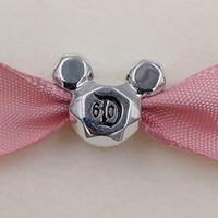 Autentico 925 perline in argento sterling 925 Miky Mouse 60th Anniversary Charm Adatto a Bracciali europei Bracciali per gioielli in stile Pandora