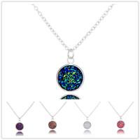 Moda Drusy Druzy Collar 12 MM Faux piedra collares pendientes oro plateado lentejuelas arco iris collar para mujer dama joyería