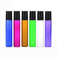 900pcs / lot 10ml пустой рулон на янтарных стеклянных бутылках Смешайте 6 цветов многоразового использования красочный рулон на бутылках для ароматерапии, аромат Essentia