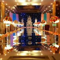 Centrotavola di lusso per matrimoni Aisle Runner Mirror Tappeti per la cerimonia nuziale Decorazione della stazione T Oro argento Viola rosa Colore rosso