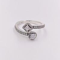Autentyczne 925 Sterling Silver Pierścienie Streszczenie Elegance, Clear CZ Pasuje Europejskiej Pandora Styl Biżuteria Darmowa Wysyłka 191031CZ