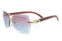 새로운 나무 손 새겨진 선글라스, 자연 타이거 나무 안경 크기 : 58-18-135mm, 프리미엄 럭셔리 다이아몬드 선글라스, 8300817
