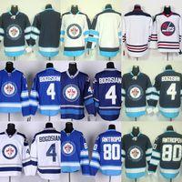 Factory Outlet New Arrivals-Männer Winnipeg Jets # 4 Bogosian # 80 Antropov # Blank Weiß Blau Beste Qualität Eishockey Trikots versandkostenfrei