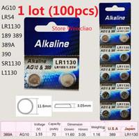 100 stücke 1 los AG10 LR54 LR1130 189 389 389A 390 SR1130 L1130 1,55 V alkalische Knopfzellenbatterie-Münzbatterien Freies Verschiffen