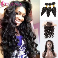 360 Lace Frontal with Bundles Peruvian Loose Wave with Front...