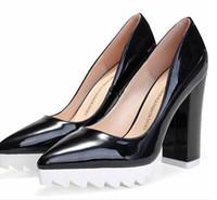 Moda feminina de couro chunky calcanhar sapatos de plataforma plataforma apontou dedos sandálias de 11 cm de salto alto primavera verão outono sapatos 5 cores