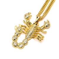 Fábrica venda Hip Hop jóias banhado a ouro prata Big Scorpion Pendant Colar Para Homens Mulheres Moda Homens Mulheres