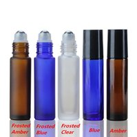 750pcs 5 Farben Tragbare 10ml MINI ROLL ON Glasflaschen Duft PARFUM DICK Glas ätherisches Öl Flasche aus Glas Metall-Rollen-Kugel FLASCHEN