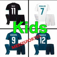 HOT 17 18 Real Madrid kids home away third soccer jersey kit...