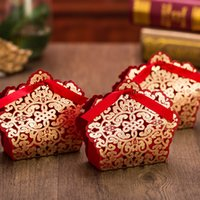 500pcs lot Wedding Decoration Chocolate Box Red And Gold Col...