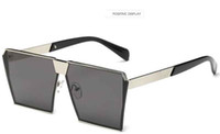 European and American fashion big frame sunglasses 2017 new metal household foreign trade glasses bright and colorful square mirror sunglass