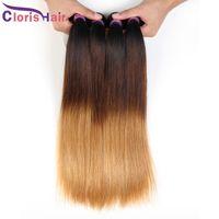 Блондинка омбре малазийские волосы девственницы прямые пакеты три тон 1b 4 27 оммре расширения дешевые темные корни блондинки прямые человеческие волосы плетения