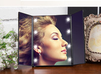 Triple- folding LED lights Makeup Mirror Portable Compact Poc...