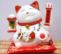 Lucky Cat ornements 13 pouces argent surdimensionné tirelire japonais bureau en céramique ouverture idées de cadeau de pendaison de crémaillère