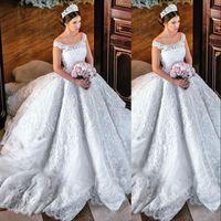 Gorgeous Princess Ball Gown Abito da sposa Paillettes Pizzo Applique Off Spalla Abito da sposa Abiti da sposa Plus Size Tulle Abiti da sposa sexy
