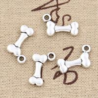 Toptan-99 Cents 12 adet Charms köpek kemik 16 * 10mm Antik kolye fit, Vintage Tibet Gümüş, DIY bilezik kolye