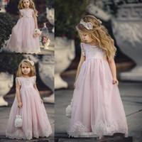 2017 خط جميل استحى الوردي تول زهرة بنات فساتين لل زفاف أكمام الطابق طول الأولى بالتواصل اللباس شحن مجاني