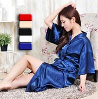 All'ingrosso-marca lunga tunica emulazione morbida casa di seta accappatoio plus size S-XXXL camicia da notte per le donne Kimono Robes Autunm Primavera Inverno Estate