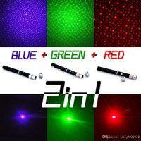 슈퍼 강력한 레이저 포인터 펜 2in1 Puntero 레이저 5mw 강력한 Caneta 레이저 녹색 / 적색 / 파랑 바이올렛 Lazer 베르데 스타 캡
