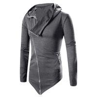 الجملة أزياء الرجال الخريف الشتاء طويل مقنعين الأزياء غير النظامية الصلبة سستة سترة معطف عباءة معطف قميص زائد الحجم L3